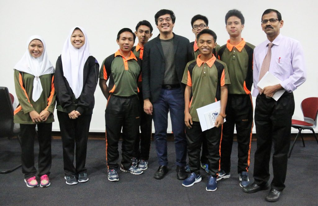 Bernard Chuly with students from Sports School Brunei
